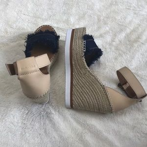 See By Chloe Shoes - NWOT See by Chloé Leather & Denim Espadrille Wedge